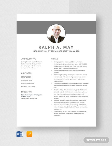 Information Systems Security Manager Resume Template