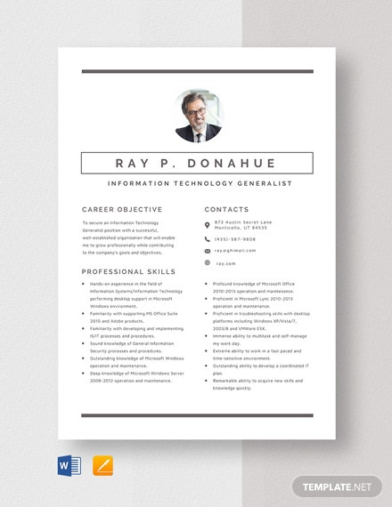 Information Technology Generalist Resume Template