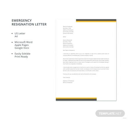 Free Emergency Resignation Letter Template