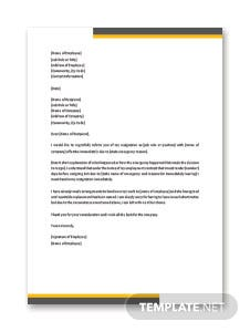 Emergency Resignation Letter Template