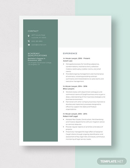 InHouse Lawyer Resume Template