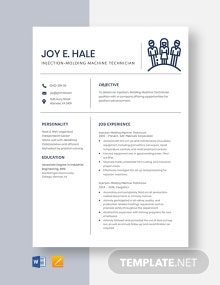 Injection-Molding Machine Technician Resume Template