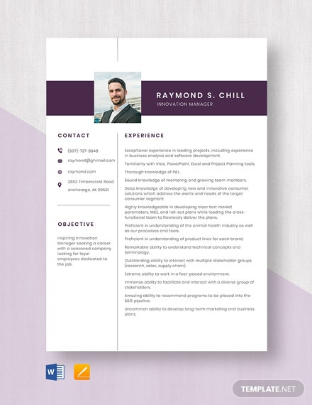 Innovation Manager Resume Template