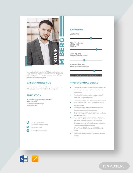 IT Systems Engineer Resume