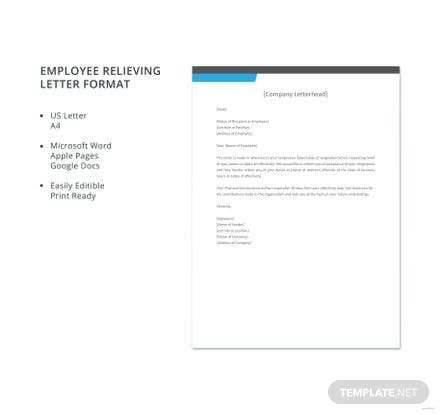 Employee relieving letter format free templates download ready made easy to edit template spiritdancerdesigns Images