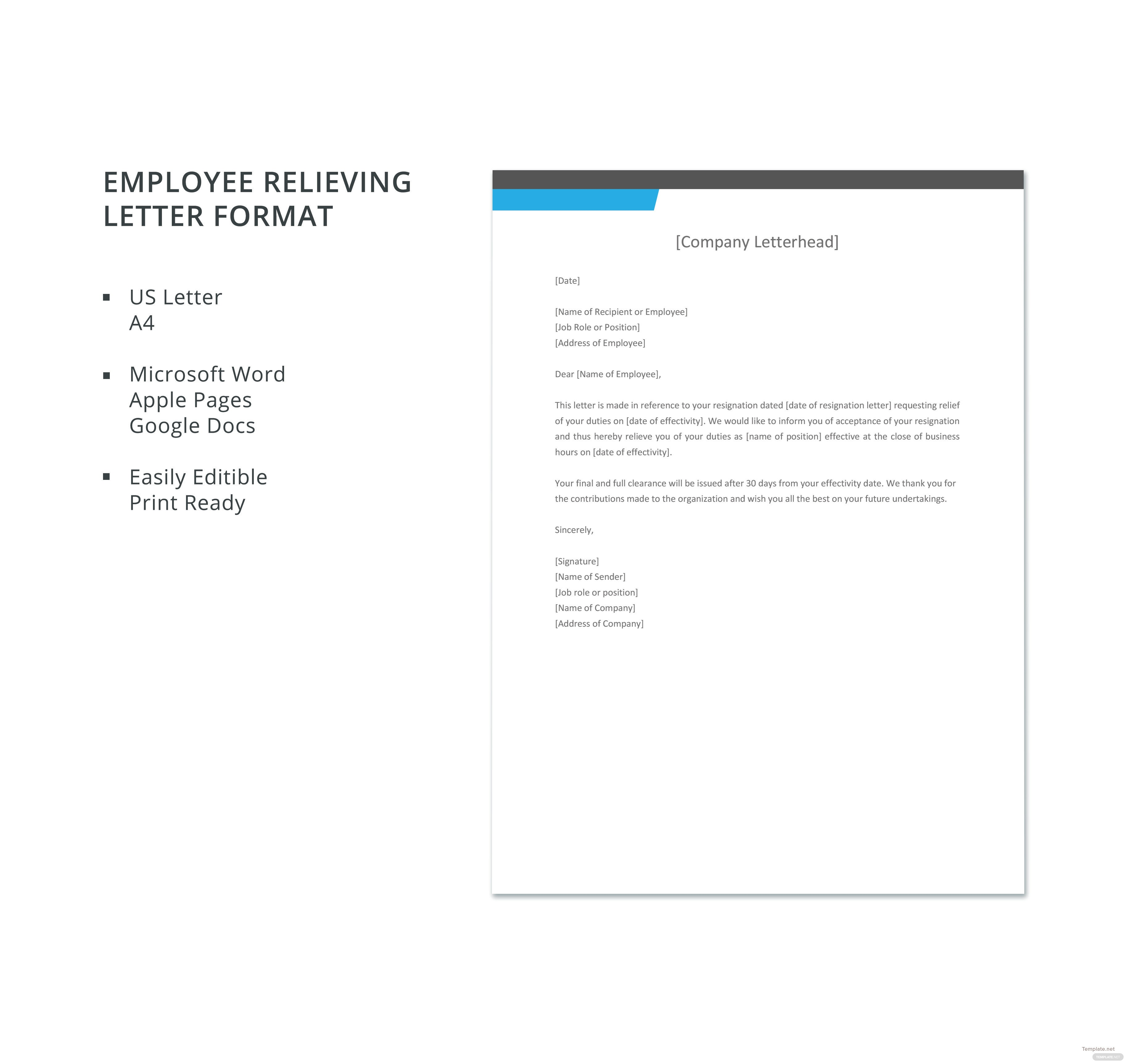 relieving letter format in word document