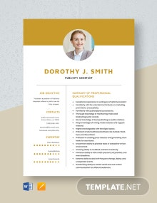 Publicity Assistant Resume Template