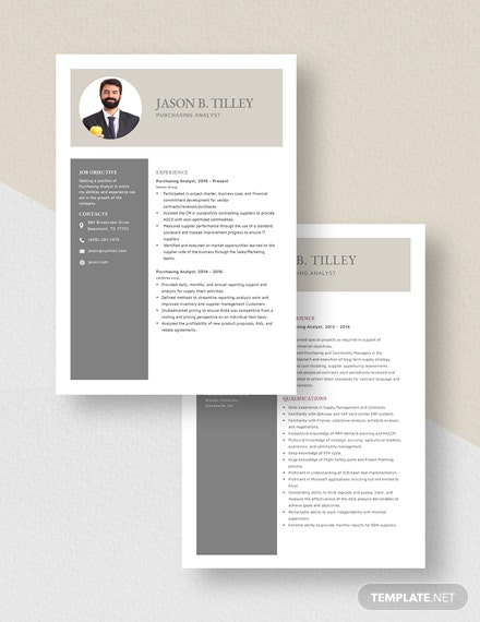 Purchasing Analyst Resume Download