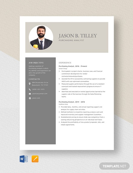 Purchasing Analyst Resume Template