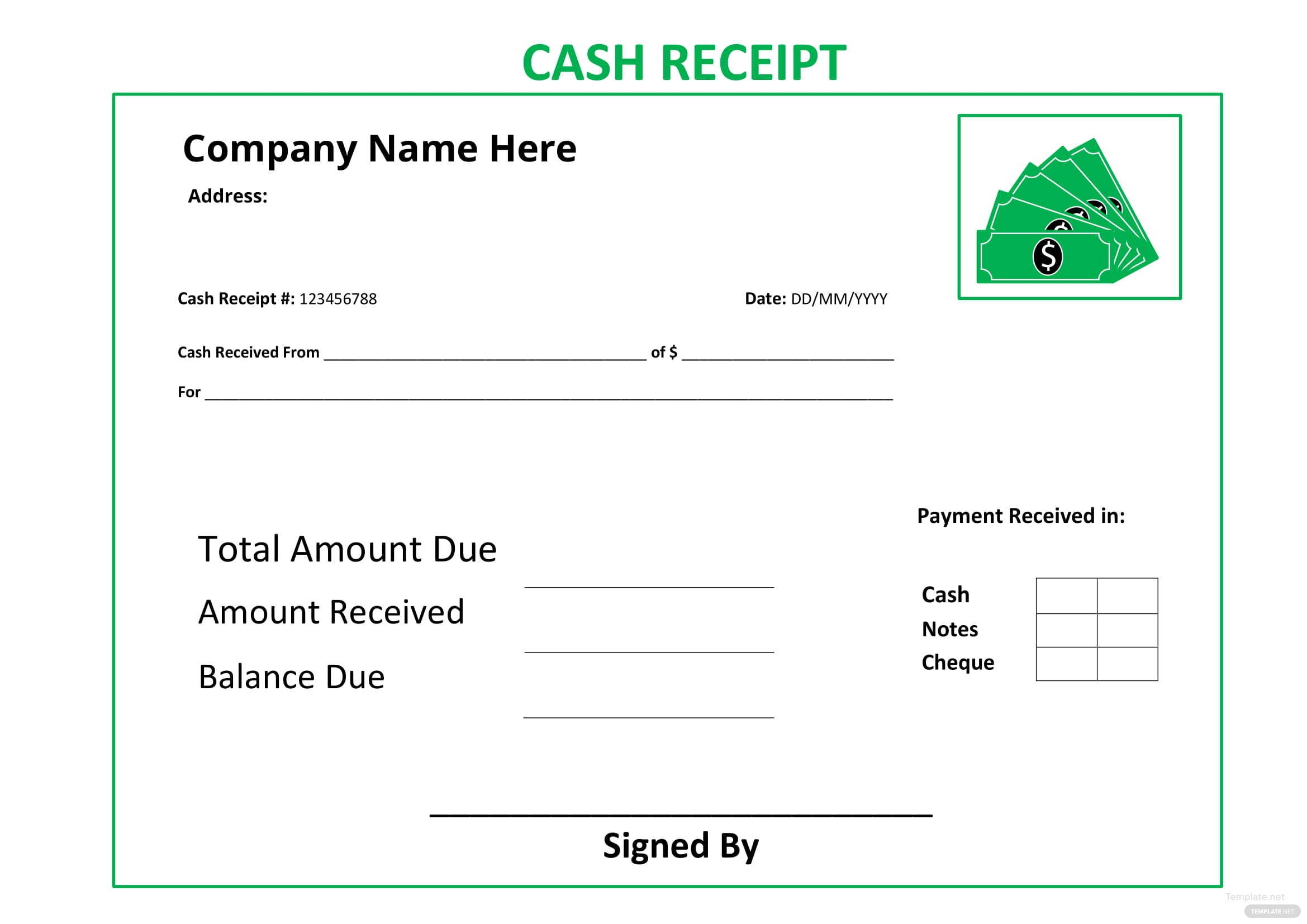 cash receipt template in microsoft word