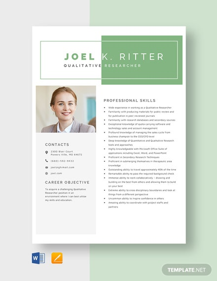 Qualitative Researcher Resume Template