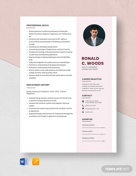 Quality Assurance Integration Tester Resume Template