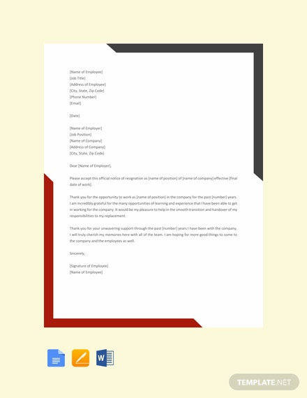 Free Sample Exit Letter Template Word Google Docs