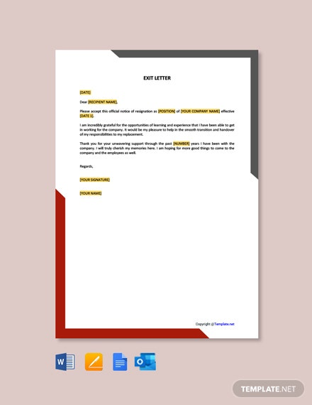 Free Sample Exit Letter Template