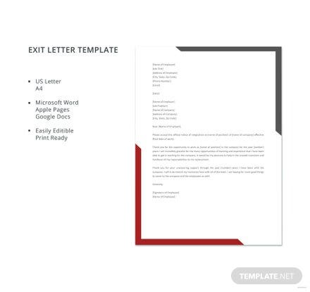 Sample Exit Letter Template