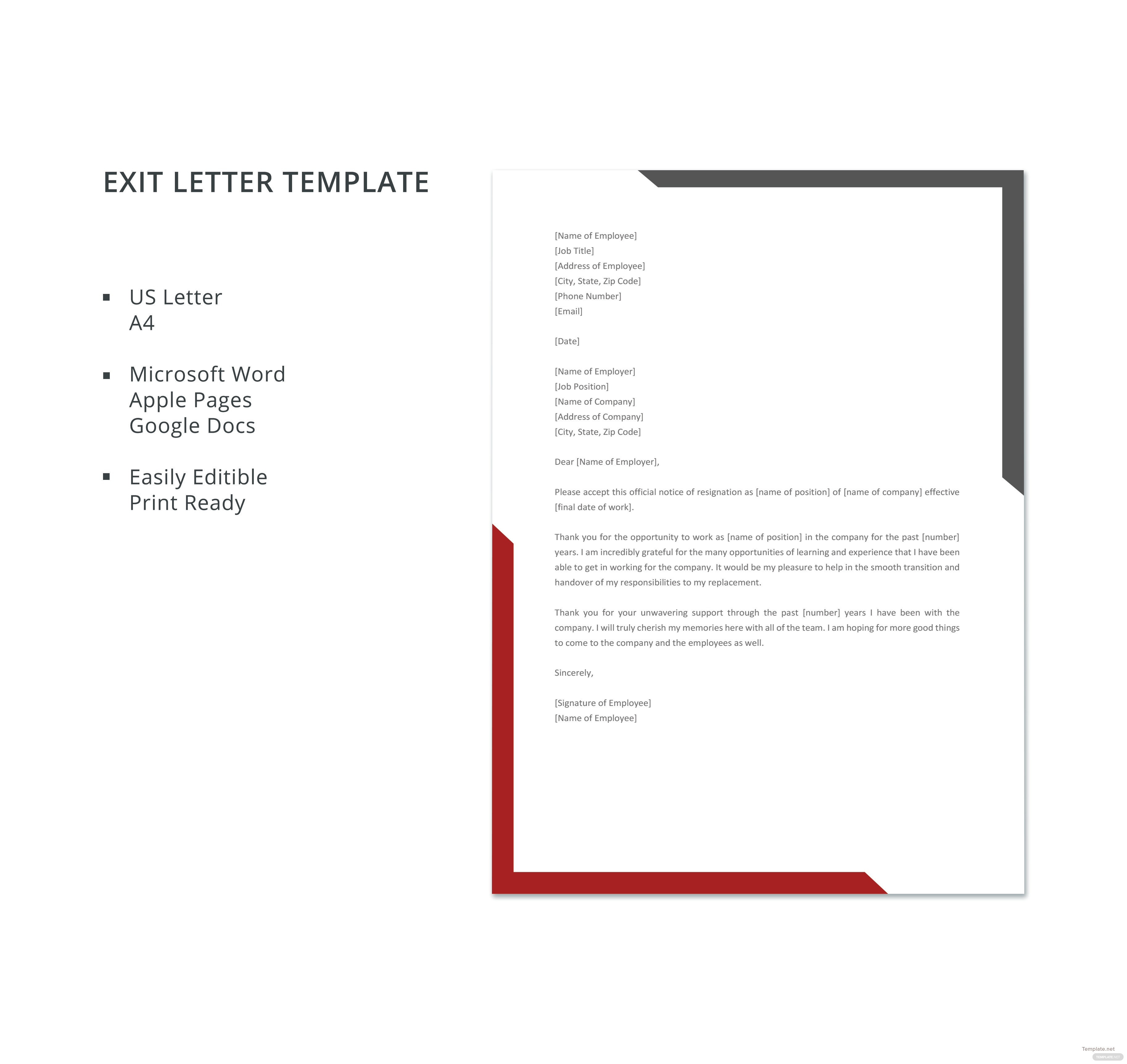 Sample exit letter template in microsoft word apple pages google sample exit letter template spiritdancerdesigns Images