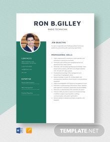 Radio Technician Resume Template
