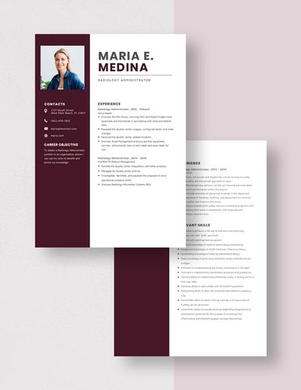 Radiology Administrator Resume Download