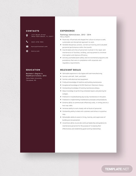 Radiology Administrator Resume Template