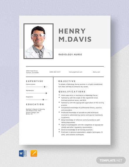 Radiology Nurse Resume Template