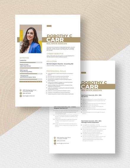 Real Estate Associate Resume Download