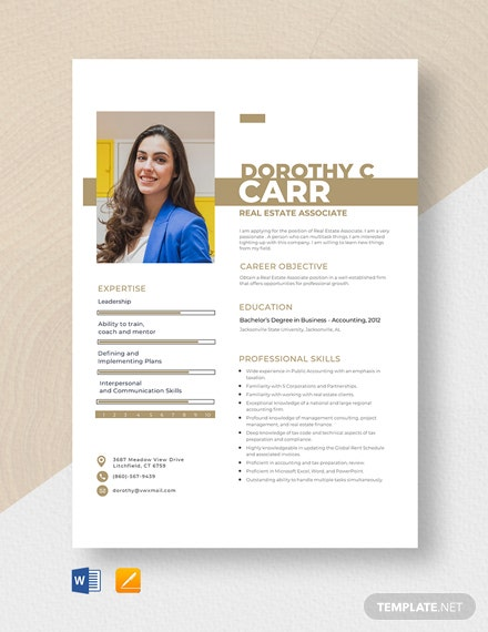 Real Estate Associate Resume Template
