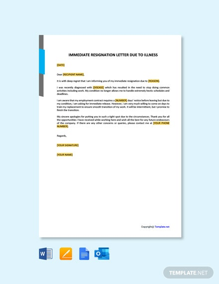 Free Immediate Resignation Letter Due to Illness Template
