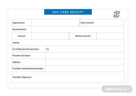 Daycare Receipt Template