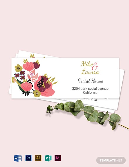 Pink Floral Wedding address Labels Card Template