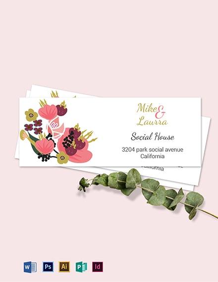 Pink Floral Wedding address Labels Card Template