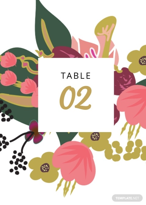 Pink Floral Wedding Table Card Template.jpe