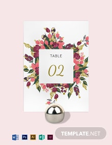 Pink Floral Wedding Table Card Template