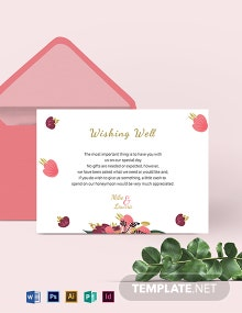 Pink Floral Wishing Well Card Template