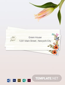 Small Flower Wedding Address Labels Card Template