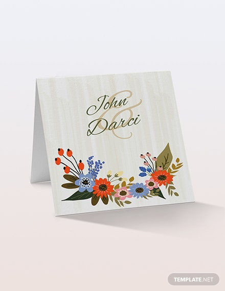Sample Small Flower Wedding Place Card