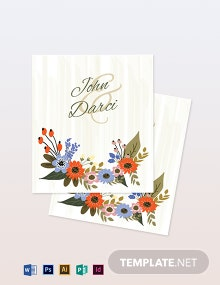 Small Flower Wedding Place Card Template