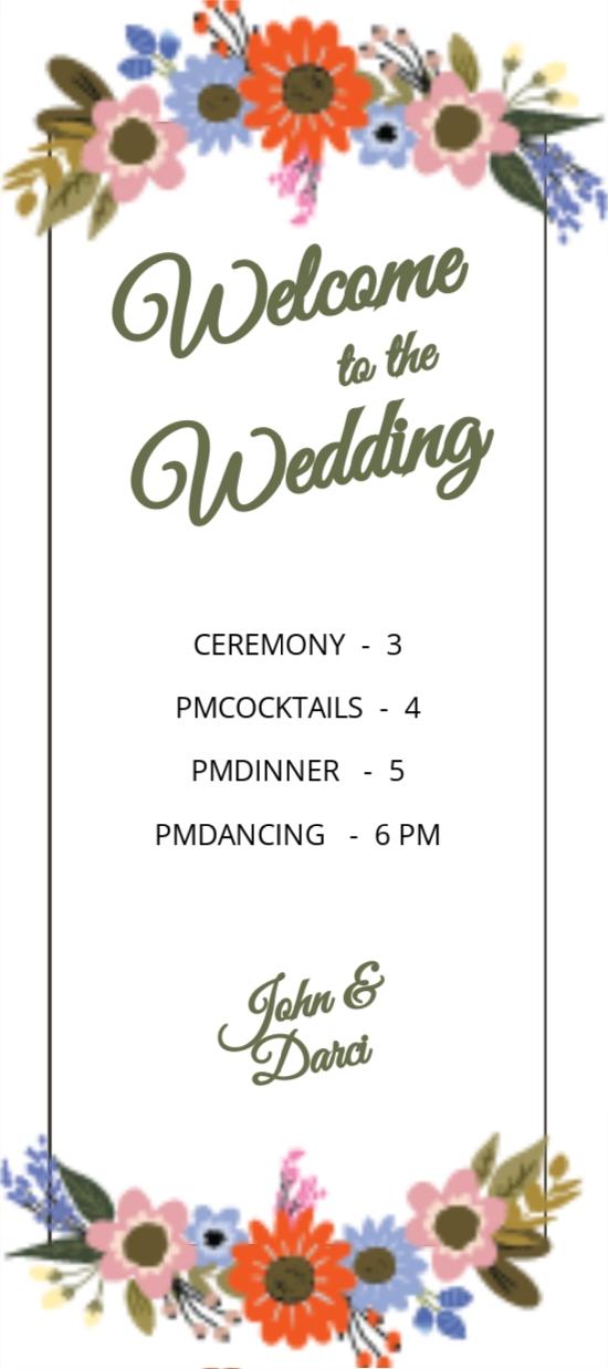 Small Flower Wedding Program Card Template