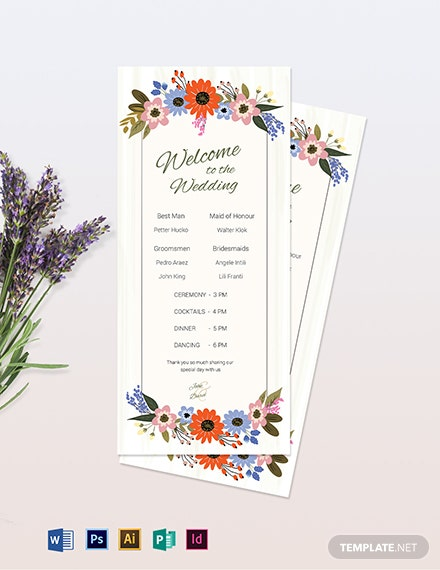 Small Flower Wedding Program Card Template