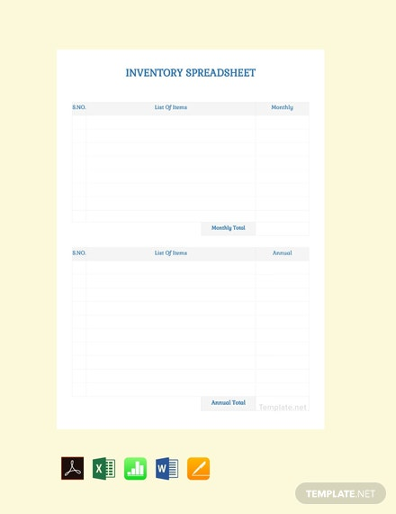 Free Blank Inventory Spreadsheet Template
