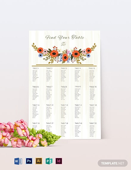 Small Flower Wedding Seating Chart Template