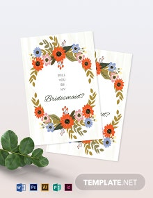 Small Flower Wedding Will You Be My Bridesmaid Card Template
