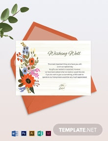 Small Flower Wedding Wishing Well Card Template