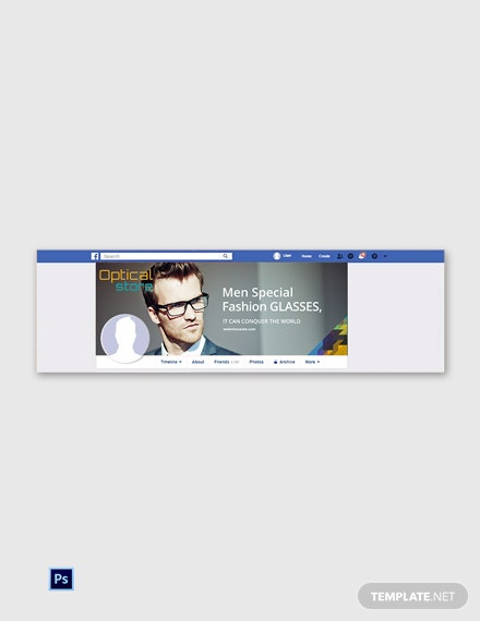 Free Optical Store Facebook Cover Page Template