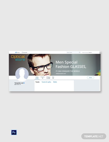 Free Optical Store Twitter Cover Page Template