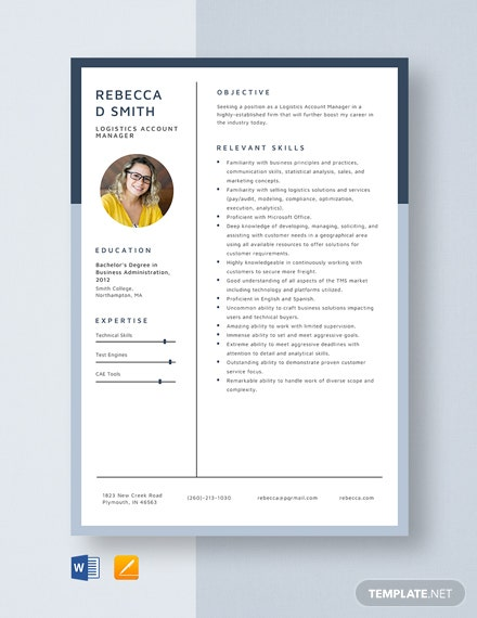 Logistics Account Manager Resume Template