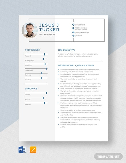 LPN Case Manager Resume Template