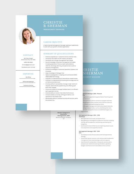 Management Manager Resume Download