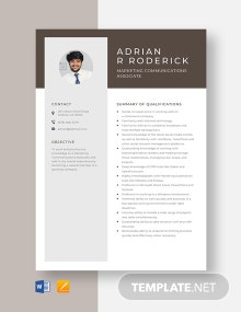 Marketing Communications Associate Resume Template