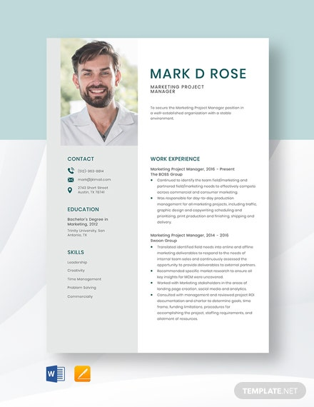 Marketing Project Manager Resume Template