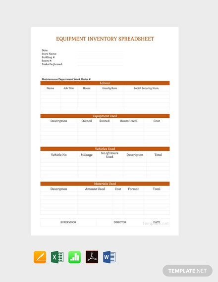 Free Equipment Inventory Spreadsheet Template